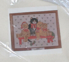 "1992 Design Works ""Christmas Teddy Bears on Shelf"" w/ Cat Cross Stitch Kit"