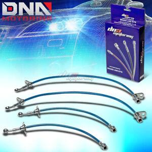 FOR 00-03 HONDA S2000 AP1 S2K BLUE STAINLESS STEEL HOSE BRAIDED BRAKE LINE KIT