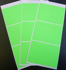 9 Lime Green Paper Mini Stickers, 88x63mm Rect, Labels, Plain, Blank, BLC521