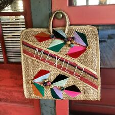 MEXICAN Straw XL VINTAGE Purse Bag Raffia Souvenir Wicker