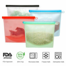 4x Reusable Silicone Food Storage Airtight Bag, Zip Lock Preservation Container