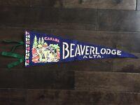 Vintage Beaverlodge Alberta Pennant Felt Banner 1960's Canada Souvenir AB