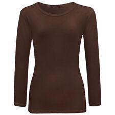 Niña Liso Camiseta de manga larga infantil Cuello Redondo Suéter 2-13 AÑOS