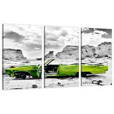 TRITTICO TRIPLE 3 tela Lime Verde Ragazzi Camera Da Letto Wall Art AUTO 3143