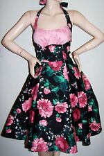 PINUP COUTURE DRESS Sz S Pink Floral on Black HALTER Circle-Skirt Vintage-Style