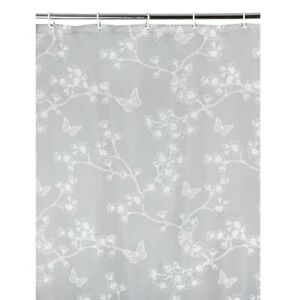 Grey White Butterfly Floral Print Shower Curtain Hooks Ring 180x180cm Waterproof