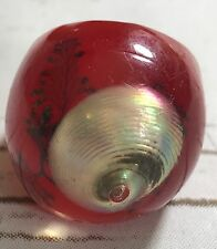 Retro Red  Lucite Bubble Ring w/Encased Real Shell  Size 7