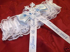 PERSONALISED WINTER WEDDING GARTER WHITE SNOWFLAKE - SOMETHING BLUE