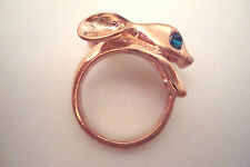 BNWOT Gold Tone and Green Diamante Rabbit Head Statement Ring Size K