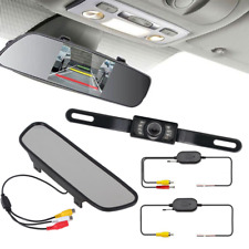 "5"" LCD Car Rear View Backup Mirror Monitor+Wireless Reverse IR Camera System Kit"