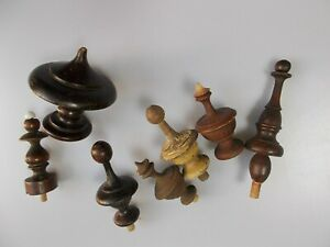 7.Antique Hand Turned Wooden Finials, Renaissance Style, and of 19th c.