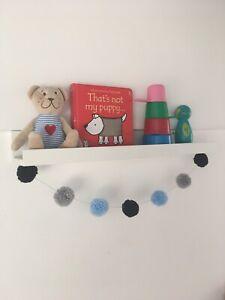 Pom Pom Garland Wool | Dark Blue Pastel Blue Grey | Nursery Decor | Baby Boy