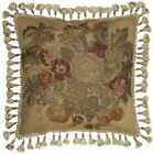 """HAND-EMBROIDERED THROW PILLOW 21""""X21"""" FLOWERS PLANTS GREEN CANVAS"""