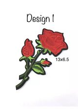 Red Roses Patches Iron On Sew On Embroidered Rose Flower Patch Badge Design