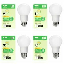 4 Pack LED A19 Bulb 9W Watt Fully Dimmable Warm White 2700k energy saving New