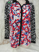PETER PILOTTO BLOUSE Lace Sleeve S/P Red White Blue Black Long Sleeve NEW