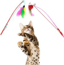 1pcs Kitten Cat Rod Bell Mouse Toy Wand Teaser Play Pet Exercise Dangler Feather
