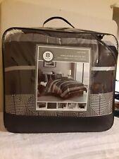 Matthews 8 Piece King Comforter Set Black Striped Gray