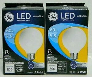 2 EA GE  25967 Frosted Finish Light Bulb Dimmable LED G25 Decorative Globe 5.5W