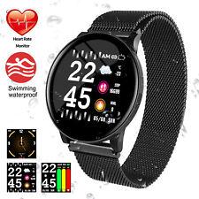 Bluetooth Magnetverschluss Smart Watch Sport Pulsuhr Armband Fitness Uhr DHL