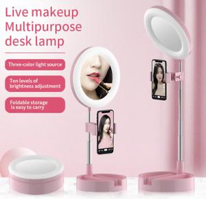 LED Mirror Ring Light Stand Phone Holder Make-up Camera Lighting Fill Kit Lamp