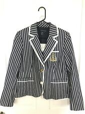 Boston Proper Blue Navy White Striped Nautical Crested Blazer Jacket Sz 10