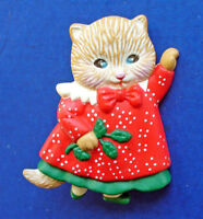 Hallmark PIN Christmas Vintage CAT Tabby Red Dress HOLLY Holiday Brooch
