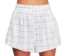 Staple The Label 100% linen Scarlett Short **NEW W TAGS $90** Shirred Check 8-12