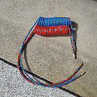 15' Red and Blue Coiled Air Hoses for Commercial Truck Trailer Dot 1 Pair