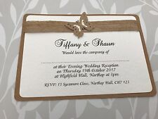 50 Rustic Butterfly Wedding Invites with Hessian & Recycled Kraft Card Handmade
