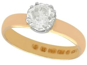 1.34ct Diamond and 22k Rose Gold Solitaire Ring - Antique 1887