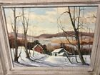 Dated 1974 Framed Oil Painting Pittsford VT Winter Landscape By Robert O Frick