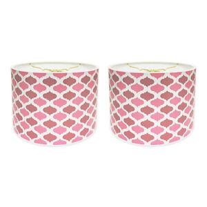 Royal Designs Pink Mediterranean Pattern Shallow Drum Hardback Lamp Shade