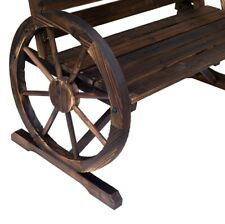 Outsunny Wagon Wheel Chair Bench Armrest Rustic High Back Loveseat Wood Outdoor