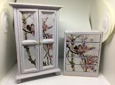 1:12th dolls house miniature shabby chic grey wardrobe and chest of drawers set