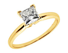 Ladies 14K Yellow Gold Prong Princess Diamond Solitaire Engagement Ring 0.50ct