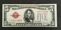 1928 F LEGAL TENDER $5.00 Red Seal Note circulated