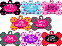 Double Sided Hearts Pattern Pet Id Dog Tag Personalized w/ 4 Lines of Text