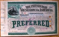 Pittsburgh, Youngstown & Ashtabula Railroad Stock Certificate dated 1888