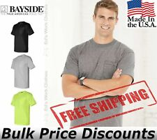 Bayside Mens Union-Made Short Sleeve T Shirt with a Pocket 3015 up to 3XL