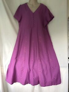 FROM PENNY PLAIN MAUVE EMBROIDERED COTTON MIX SUMMER TEA DRESS 20 BNWT