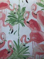 "NWT Cynthia Rowley White Pink FLAMINGO  70"" ROUND Easy Care Tablecloth"
