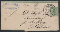 32424) Hufeisen-Stempel HAMBURG Sp. 17-7 auf Streifband 1875 nach Niendorf