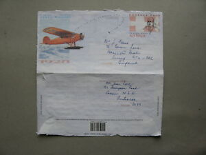 AUSTRALIA, prestamped aerogramme to England 1998, aeroplane North Pole 1928