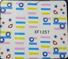 Accessoire ongles: nail art - Stickers autocollants - Bandes colorées, étoiles