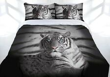 Quilt Cover Set Double Bed Tiger Blue Eyes Stripe Doona Bedding New!