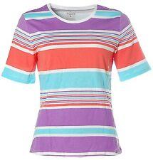 X4126 KITARO Kurzarm Shirt T-Shirt Rundhals Streifen 38 lila weiß orange NEU
