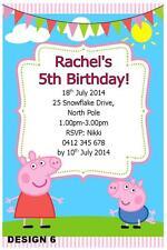 1 x PEPPA PIG GIRLS BIRTHDAY PERSONALISED INVITATIONS + FREE MAGNETS