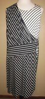 Cato Womens Plus 22/24W Black And White Stripe Sleeveless Below The Knee Dress