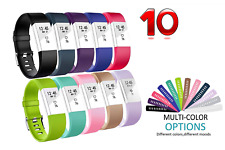10 Pcs Replacement Band For Fitbit Charge 2 HR Soft Silicone Wristband Small
